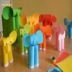 طريقة عمل فيل من الورق للطفل