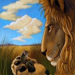 تبرع مقابل قصة ملك الغابة المغرور و الفأر الحكيم
