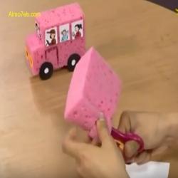بالفيديو كيف نصنع باص وبالإسفنج نرسم طلاب فيه ؟